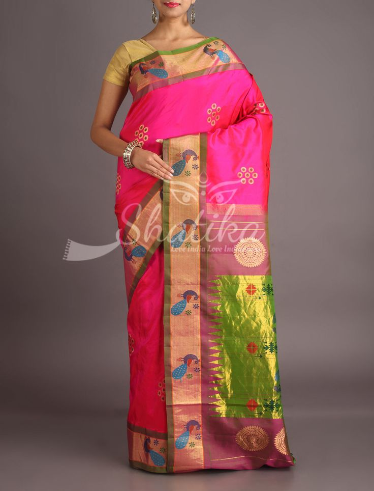 Prachi Magenta Pink Designer Border Pallu Real Zari Paithani Silk Saree