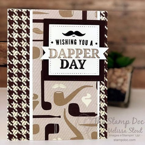 Simple Masculine Card Created with Truly Tailored Stamp Set, True Gentleman Designer Series Paper, and FMS319 Sketch, Chocolate Chip, Crumb Cake