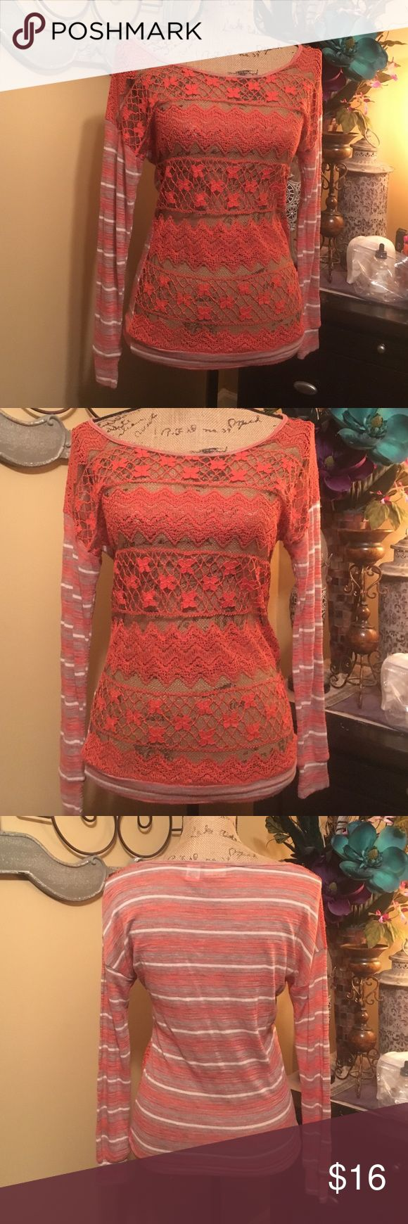 """Daytrip Top Soft gray, orange & cream stripped cotton top with open woven orange lace front. Long sleeves & stripped cotton bottom front trim. Sz XS. In great condition except a small hole in the front open mesh on the left shoulder. Slouchy style underarm fit with 36"""" stretchable bust & 24"""" length Daytrip Tops"""