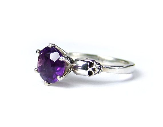 Hey, I found this really awesome Etsy listing at http://www.etsy.com/listing/170573892/skull-engagement-ring-silver-amethyst