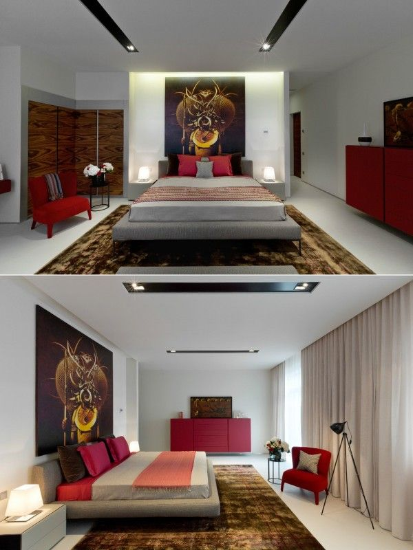 The passionate reds included in this bedroom design will make it easy to rise with the sun.