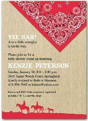 2555r  Western Red Bandana Baby Shower Invitation
