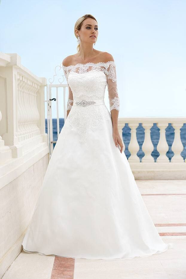 Details about Strapless Wedding Dress with Half Sleeves Lace
