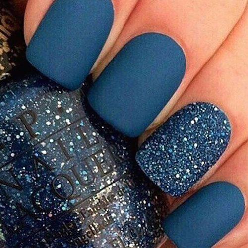 Las mejores ideas de diseño de uñas cortas en azul del 2016.                                                                                                                                                     Más