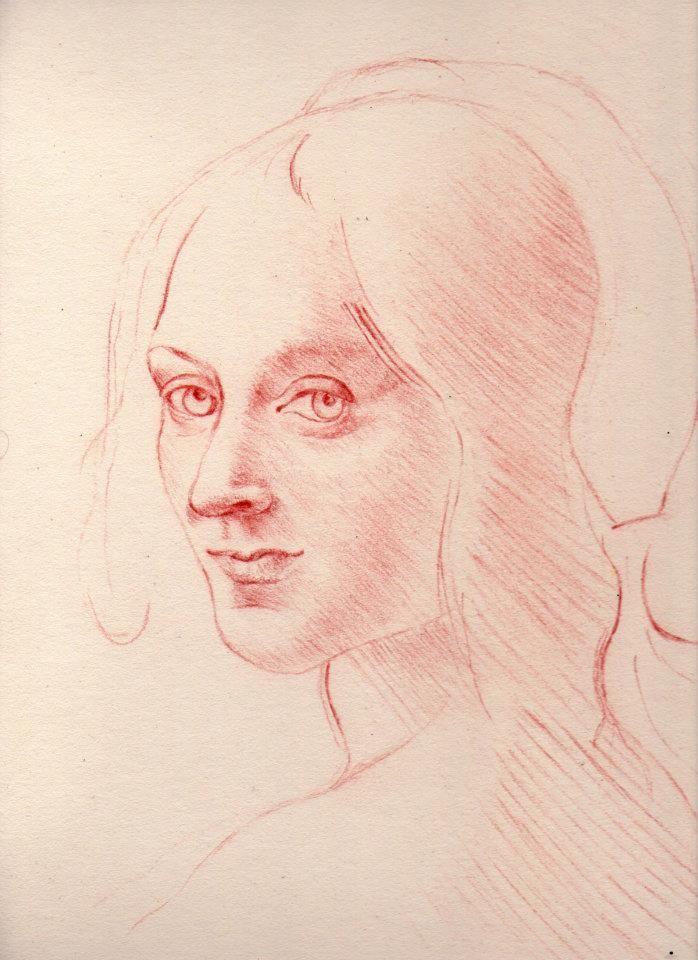 Estudio de rostro en sanguina según Da Vinci