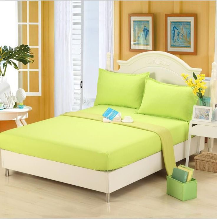 3-Pieces Polyester Fitted Bed Sheet Pillow Case Metress Protector Deep Pocket