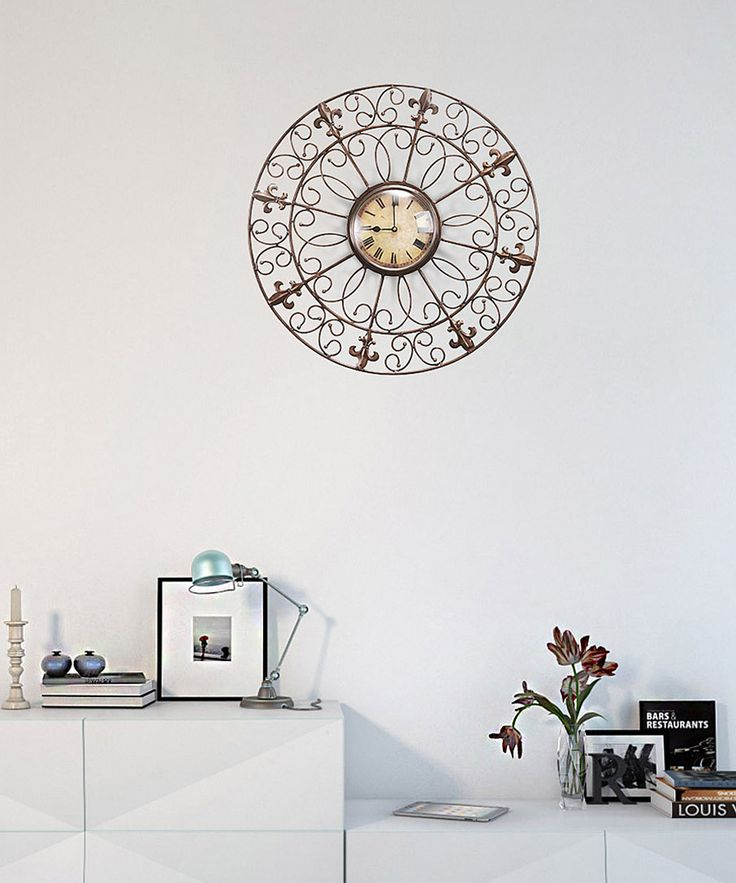 Round Shape Iron Frame with Floral Design Zink Copper Finish Wall Clock.