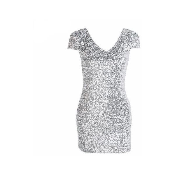 Silver Sequin Ariel Party Dress ($55) ❤ liked on Polyvore featuring dresses, white dress, sequined dresses, white sequin cocktail dress, silver sequin embellished dress and silver sequin dress
