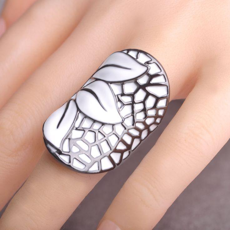 Enamel Esmalte White Flower Rings Black Gun Plated Anillos Big Finger Rings For Women Elegant Wedding Party Bague Anel feminino