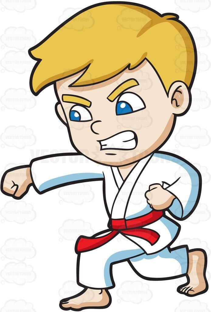 A boy during a Taekwondo training #cartoon #clipart #vector #vectortoons #stockimage #stockart #art