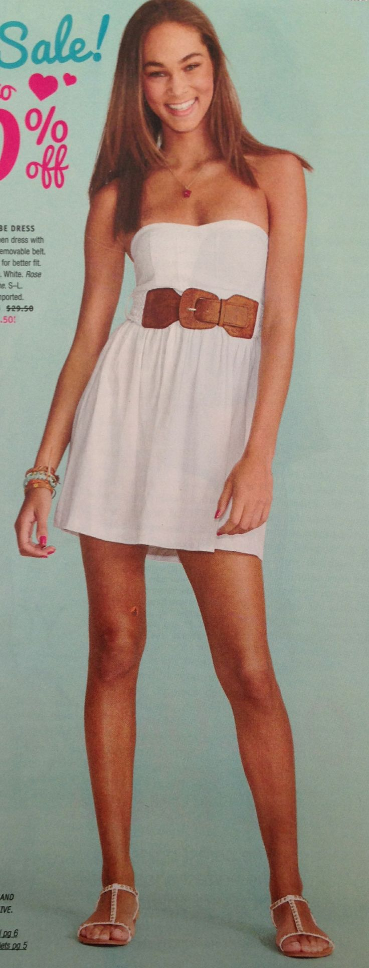 summer white dress with brown belt cute summer spring