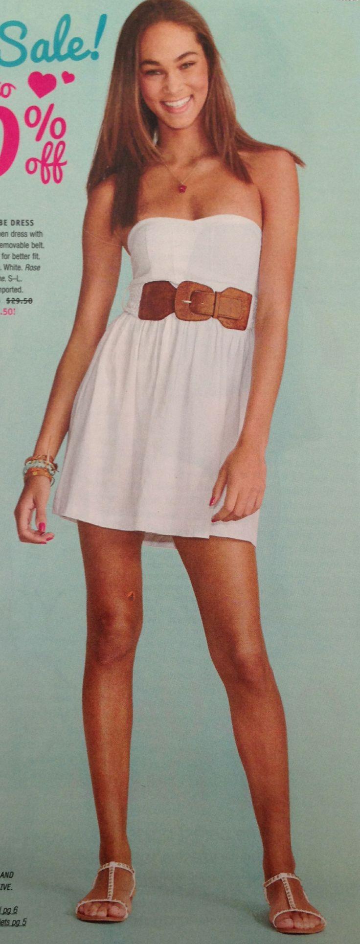 summer white dress with brown belt summer