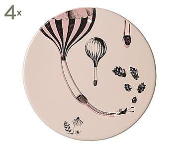 Set di 4 piatti decorativi da parete in ceramica rosa/nero, D 16