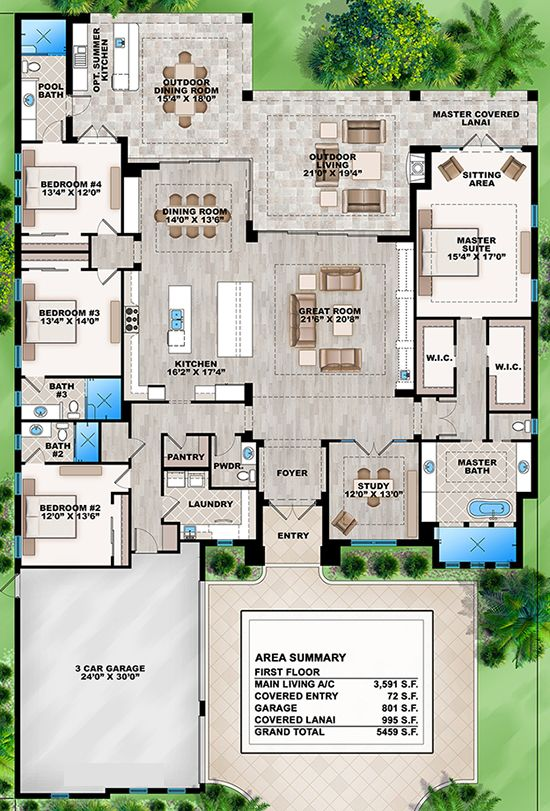 House plan 207 00031 contemporary plan 3 591 square for Best bathroom layout plans