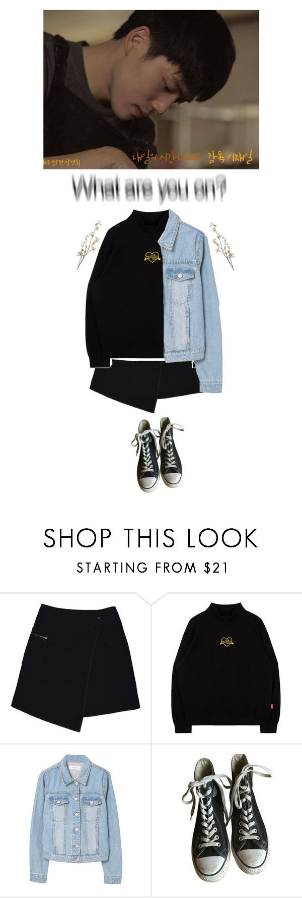 """""""Heartburn."""" by honganh010603 ❤ liked on Polyvore featuring MARC CAIN, MANGO, Converse and Pier 1 Imports"""
