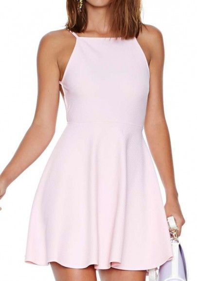 Light Pink Plain Sleeveless Satin Mini Dress