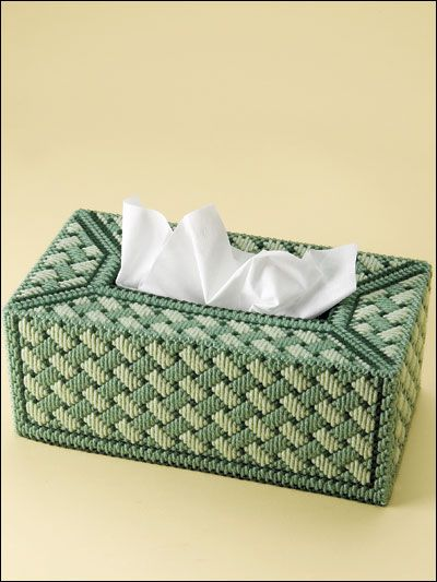 Plastic canvas Long-stitched tissue box cover from e-patternscentral.com