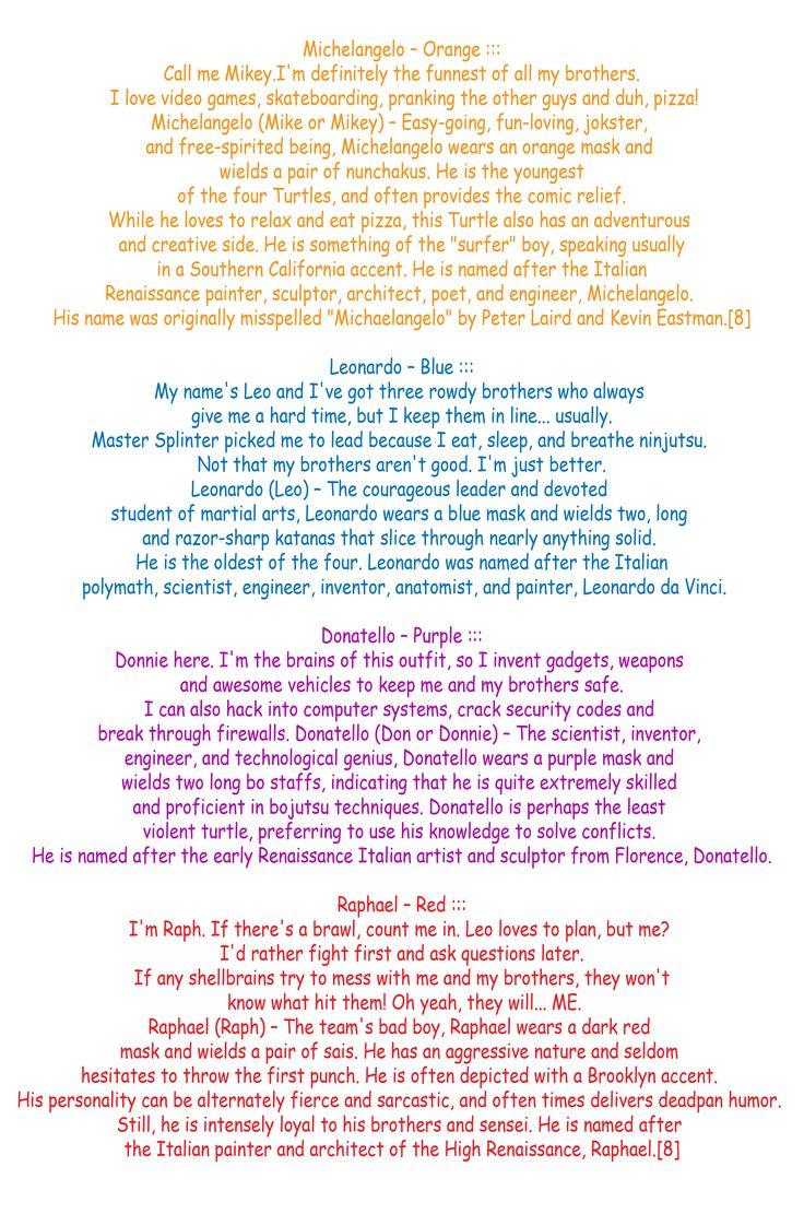 lol tmnt character descriptions!