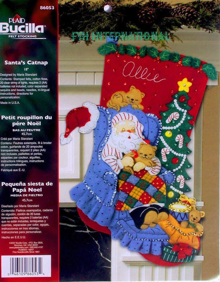 245 best bucilla felt kits images on pinterest christmas crafts bucilla santas catnap 18 felt christmas stocking kit 86053 cats kittens ebay solutioingenieria Images