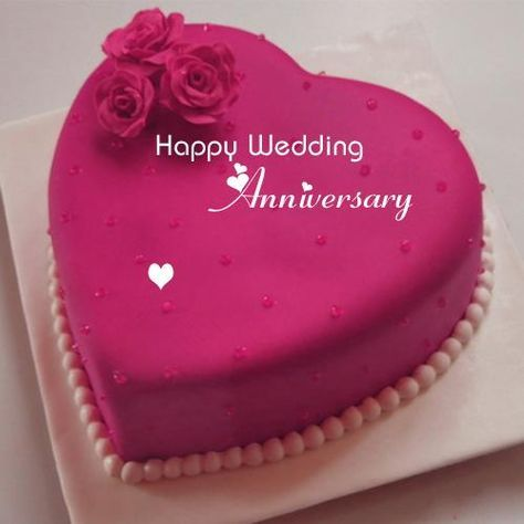 Happy Wedding Anniversary Wishes Heart Name Cake Flowers Happy
