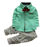 Lente Jongens Kleding Sets Volledige Lengte V-hals Gentleman Pak Peuter Kinderkleding Set Kinderkleding Trainingspak Baby Boy Kleding