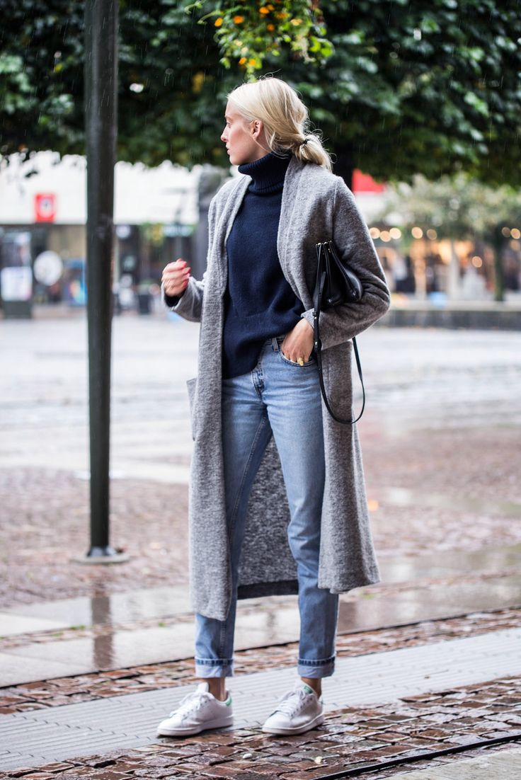 Rolled up jeans with a navy turtleneck, long grey cardigan, and Stan Smiths.