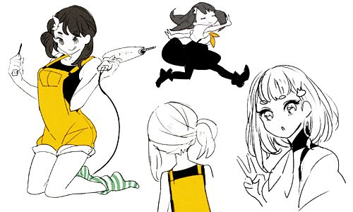 My favourite Hajime sketches scanned from the Gatchaman Crowds Kinako Design Works book.
