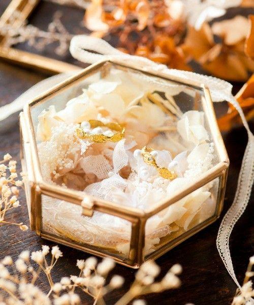 wedding(ウェディング)のガラスのリングピロー(六角形)(その他雑貨)|ホワイト