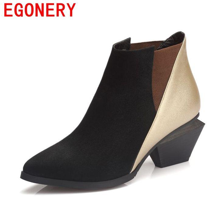 2015 новых прибытия натуральная кожа толстые каблуки сапоги зимние сапоги женские моды сапоги сексуальные вскользь ботинки ботинки женщин