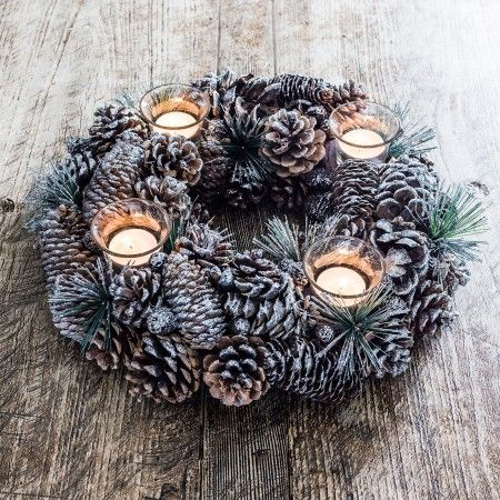 Silver Glittered Fir Cone Tea Light Wreath - Home Decoration - Christmas Home - Christmas