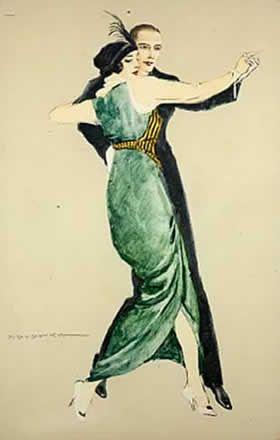 Il ballo 1920 - cartolina