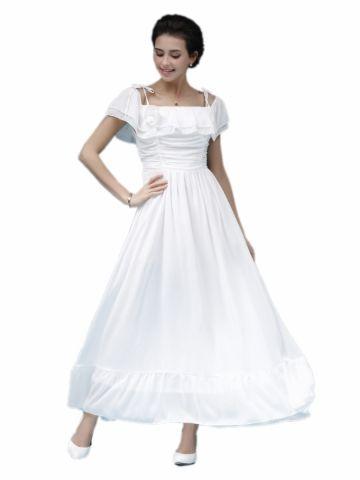kup damskie dekolt w łódkę w jednym kolorze Długie wieczorowa sukienka & Suknie na ślub i eventy - w Jollychic