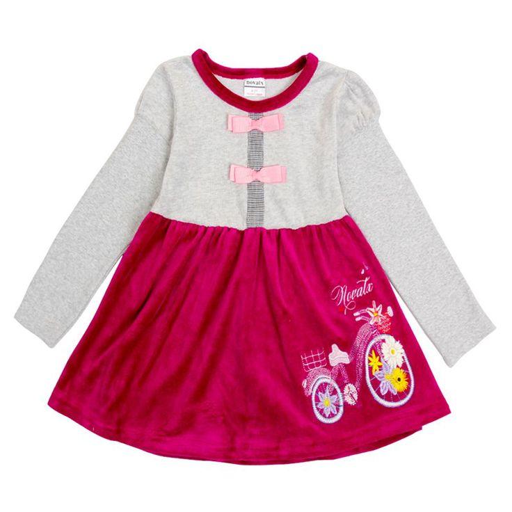 Girls dress novatx kids clothes princess vestidos long sleeve autumn winter baby trolls embroidery flower wedding frocks H6742 #Affiliate