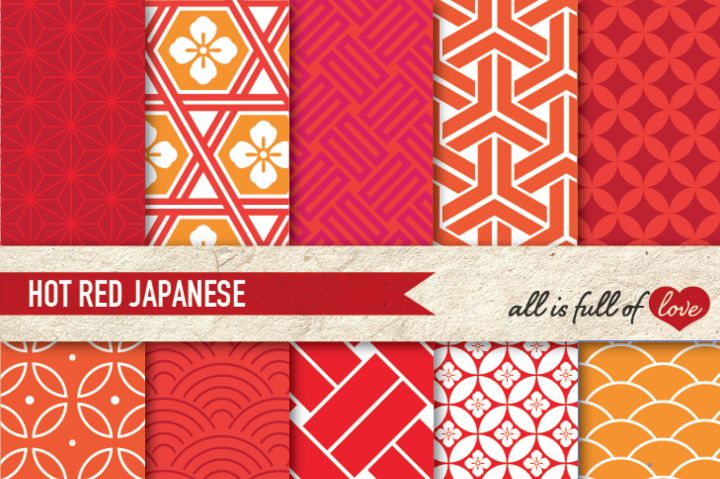 Red and Orange Japanese Patterns Pack Oriental Digital Paper pack By All is full of love