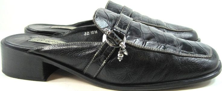 Brighton Women Mule Leather Shoes Size 10 M Black Made Italy.  VVV 4 #Brighton #Mules #Casual