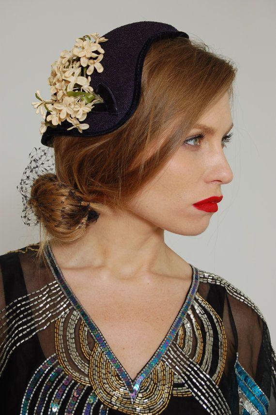 Vintage 40s Navy Blue Floral Fascinator Hat by LotusvintageNY