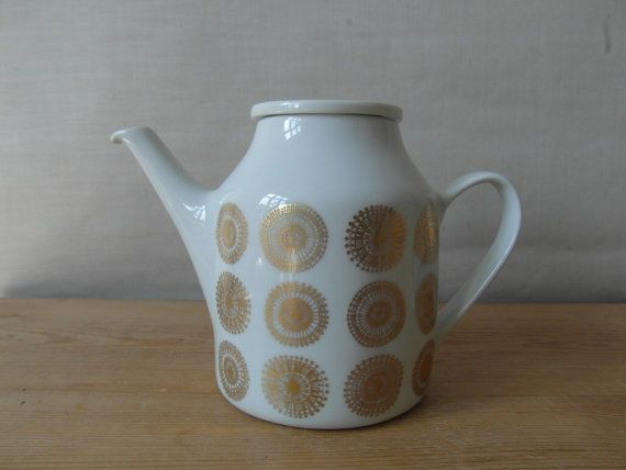 RESERVED  Porsgrund Norway  coffeepot   gold floral by danishmood