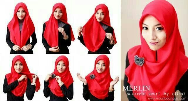 tutorial hijab simple segi empat