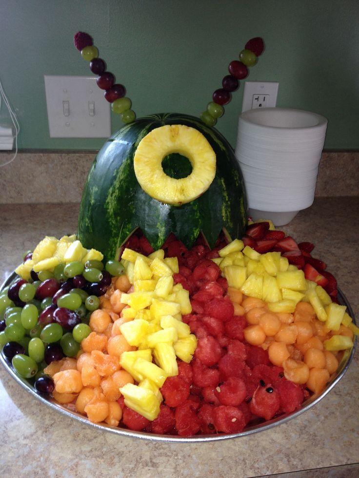 Monster watermelon fruit salad. Cut watermelon in half so it will ...