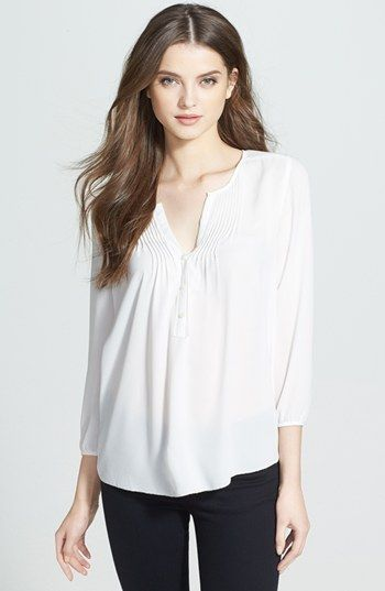 $89, White Peasant Blouse: NYDJ Pintuck Peasant Blouse Off White Medium. Sold by Nordstrom. Click for more info: https://lookastic.com/women/shop_items/56371/redirect