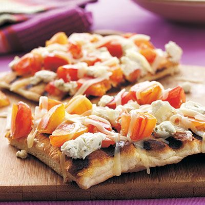 5 Ingredient, Cooking Light Magazine, Grilled Heirloom Tomato and Goat Cheese Pizza