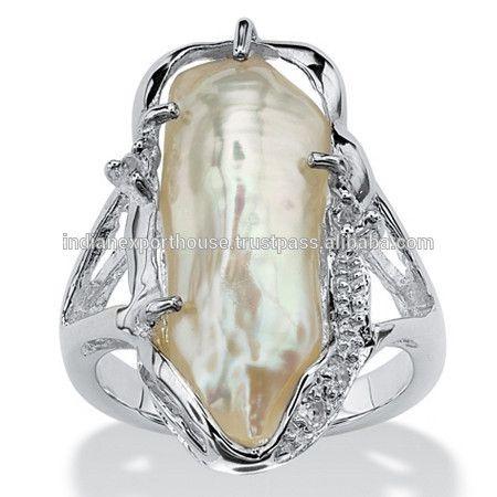 gekweekte zoetwater biwa parel accenten met witte topaas sterling zilveren ring