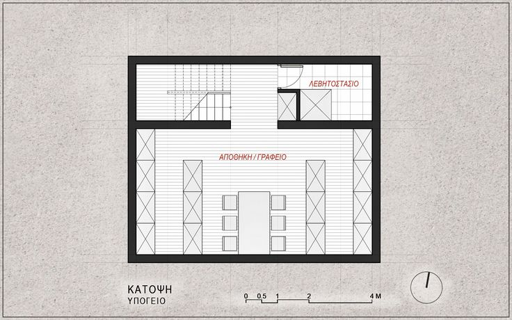 Standardised One-Family House Prototype 130 sqm, Basement Floor Plan - www.pzarch.gr