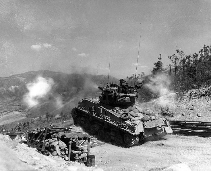 "Supporting the 8th ROK Army Division, a Sherman tank fires its 76 mm gun at KPA bunkers at ""Napalm Ridge"", Korea, 11 May 1952M4A3E8 Sherman, Infantry Division, Kpa Bunker, Tanks Battalion, Korean Wars, Napalm Ridge, Sherman Tanks, 8Th Rok, 2Nd Infantry"