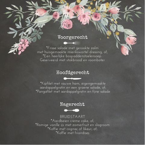 Romantische chic vierkante dinerkaart voor op tafel bij jullie bruiloft? Met krijtbord look en sierlijke boeken krans. Geheel zelf aan te passen. Gratis verzending in Nederland en België.