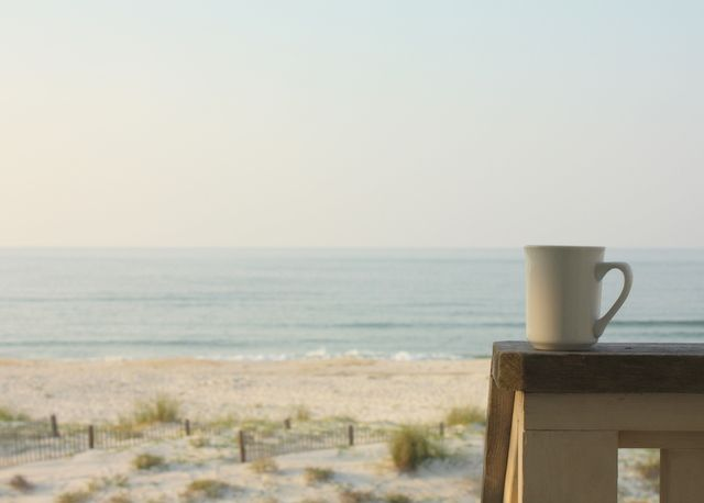 Two favourites: coffee and the beach!: At The Beaches, Favorit Place, Coff Ocean, Beaches Coff, Beaches Moments, Mornings Beaches, Beaches Mornings Coff, Coff And The Beaches, Beaches Cottages