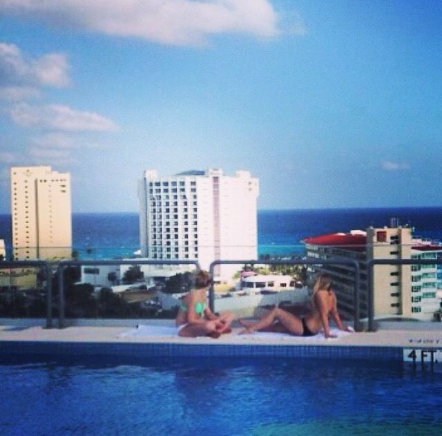 ALOFT hotel in Cancun, Mexico. Across the street was the beach!!!!! 3,714 points per night. Stay 4 nights, 5th night is FREE.  16,000 points. Fly SOUTHWEST FREE