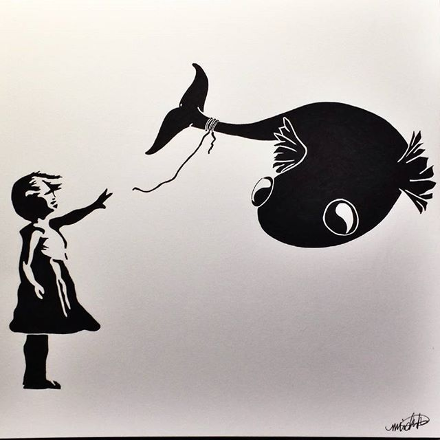Banksy inspired girl and flying fish by Michelle Takamori (@demonicdreamsart) on Instagram and Facebook