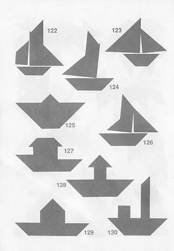 Figuras de barcos con Tangram con soluciones