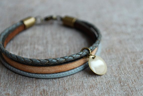 Earthy grey * Braided leather bracelet // womens leather bracelet // casual, modern, minimalist //  gifts for her // spring trends